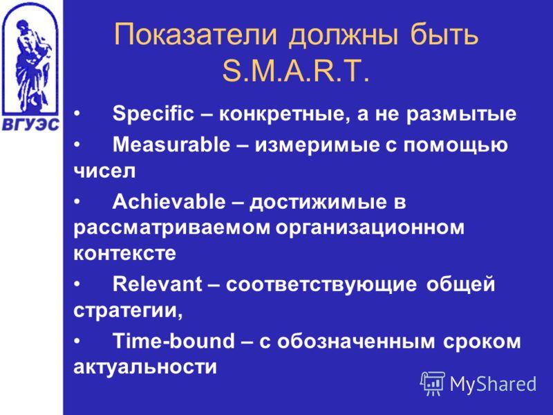 Показатели должны быть S.M.A.R.T. Specific – конкретные, а не размытые Measurable – измеримые с помощью чисел Achievable – достижимые в рассматриваемом организационном контексте Relevant – соответствующие общей стратегии, Time-bound – с обозначенным