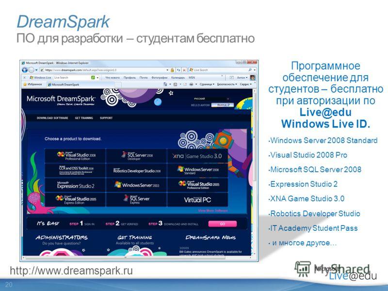20 DreamSpark ПО для разработки – студентам бесплатно Программное обеспечение для студентов – бесплатно при авторизации по Live@edu Windows Live ID. Windows Server 2008 Standard Visual Studio 2008 Pro Microsoft SQL Server 2008 Expression Studio 2 XNA