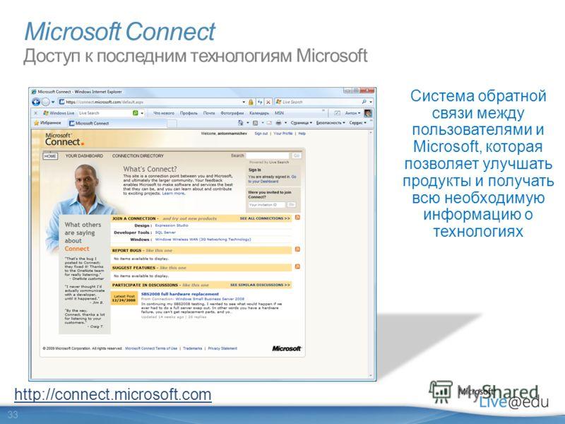 33 Microsoft Connect Доступ к последним технологиям Microsoft Система обратной связи между пользователями и Microsoft, которая позволяет улучшать продукты и получать всю необходимую информацию о технологиях http://connect.microsoft.com