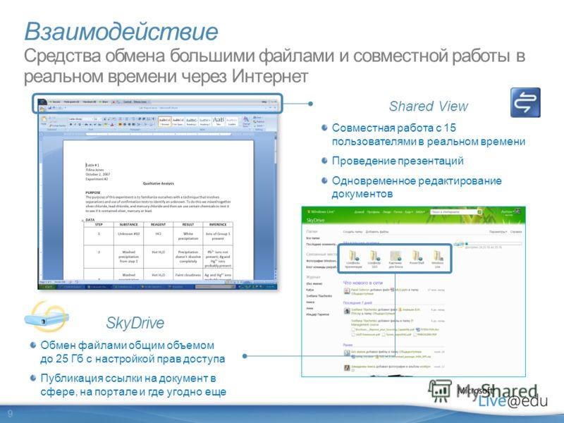 9 Shared View Совместная работа с 15 пользователями в реальном времени Проведение презентаций Одновременное редактирование документов SkyDrive Обмен файлами общим объемом до 25 Гб с настройкой прав доступа Публикация ссылки на документ в сфере, на по