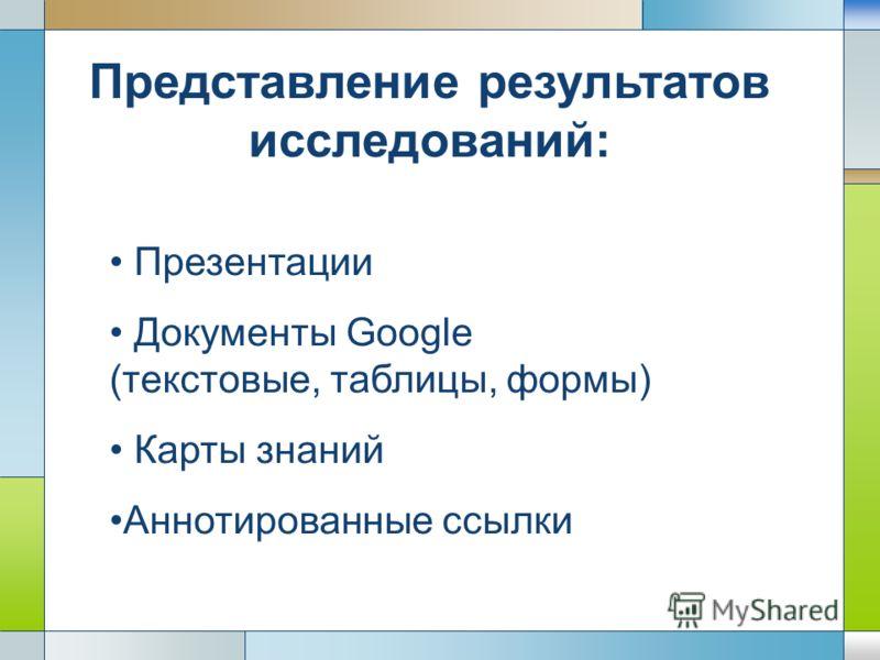 LOGO Представление результатов исследований: Презентации Документы Google (текстовые, таблицы, формы) Карты знаний Аннотированные ссылки