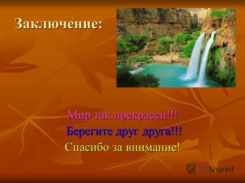 Заключение: Мир так прекрасен!!! Берегите друг друга!!! Берегите друг друга!!! Спасибо за внимание!