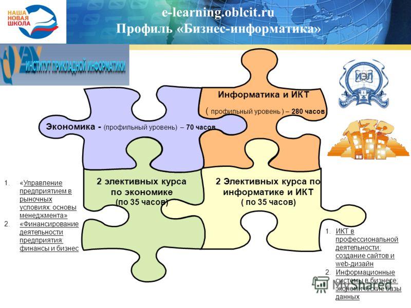 e-learning.oblcit.ru Профиль «Бизнес-информатика» Экономика - (профильный уровень) – 70 часов Информатика и ИКТ ( профильный уровень ) – 280 часов 2 Элективных курса по информатике и ИКТ ( по 35 часов) 2 элективных курса по экономике (по 35 часов) 1.