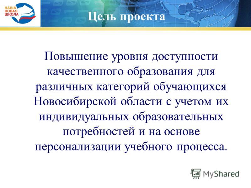 Цель проекта Повышение уровня доступности качественного образования для различных категорий обучающихся Новосибирской области с учетом их индивидуальных образовательных потребностей и на основе персонализации учебного процесса.