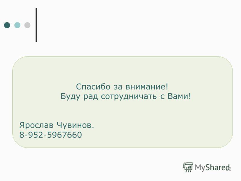 12 Спасибо за внимание! Буду рад сотрудничать с Вами! Ярослав Чувинов. 8-952-5967660