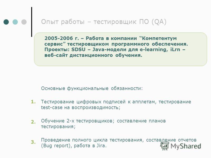 44 Опыт работы – тестировщик ПО (QA) 2005-2006 г. – Работа в компании Компетентум сервис тестировщиком программного обеспечения. Проекты: SDSU – Java-модели для e-learning, iLrn – веб-сайт дистанционного обучения. 1. 2. 3. Основные функциональные обя