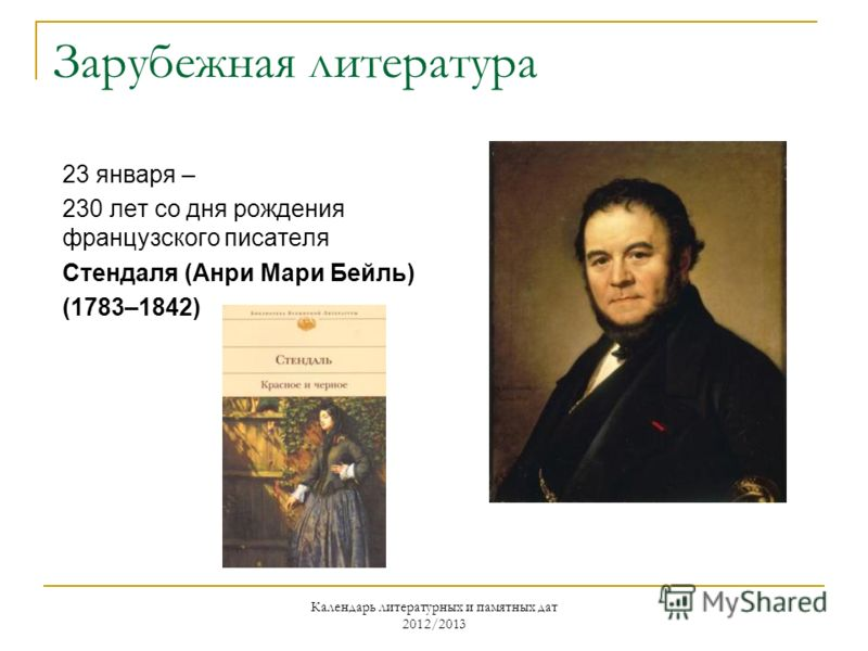 Зарубежная литература 23 января – 230 лет со дня рождения французского писателя Стендаля (Анри Мари Бейль) (1783–1842)