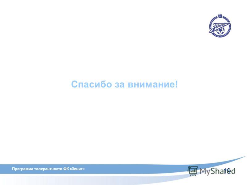 19 Программа толерантности ФК «Зенит» Спасибо за внимание!