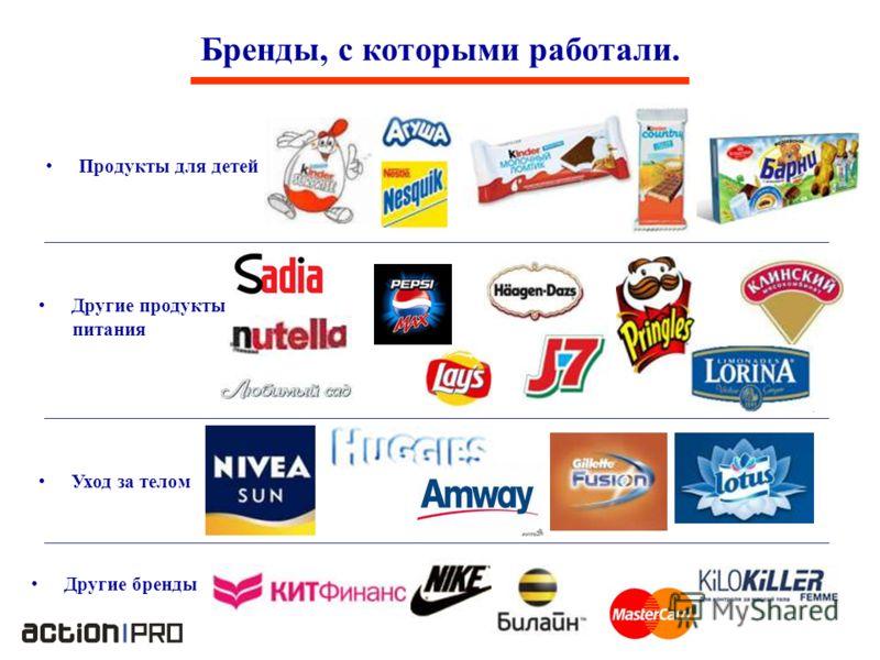 Продукты для детей Бренды, с которыми работали. Другие продукты питания Уход за телом Другие бренды