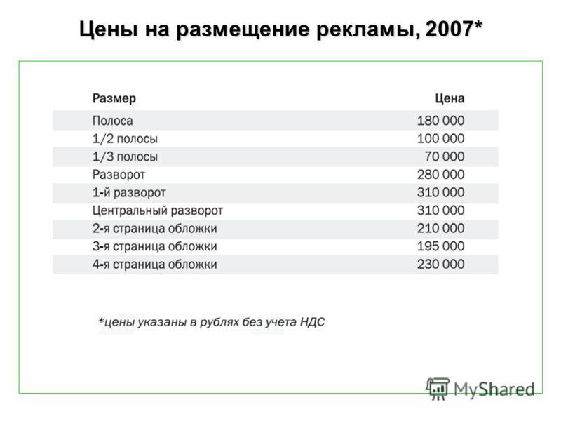 Цены на размещение рекламы, 2007*