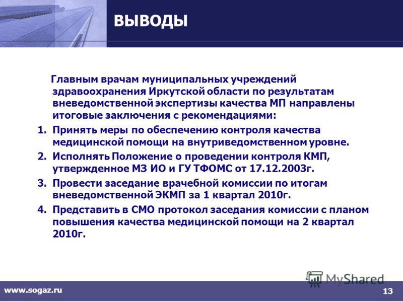 www.sogaz.ru 13 ВЫВОДЫ Главным врачам муниципальных учреждений здравоохранения Иркутской области по результатам вневедомственной экспертизы качества МП направлены итоговые заключения с рекомендациями: 1.Принять меры по обеспечению контроля качества м