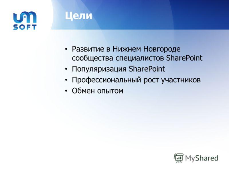 Цели Развитие в Нижнем Новгороде сообщества специалистов SharePoint Популяризация SharePoint Профессиональный рост участников Обмен опытом