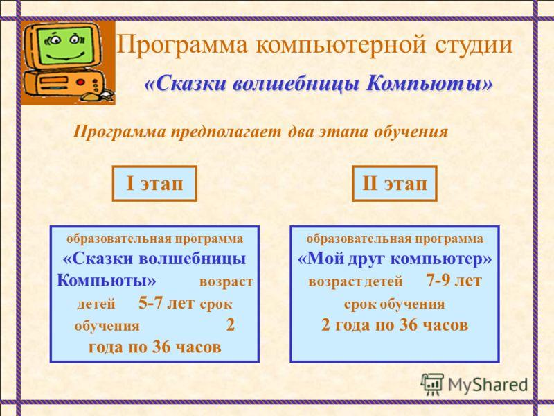 Программа компьютерной студии «Сказки волшебницы Компьюты» Программа предполагает два этапа обучения I этапII этап образовательная программа «Сказки волшебницы Компьюты» возраст детей 5-7 лет срок обучения 2 года по 36 часов образовательная программа