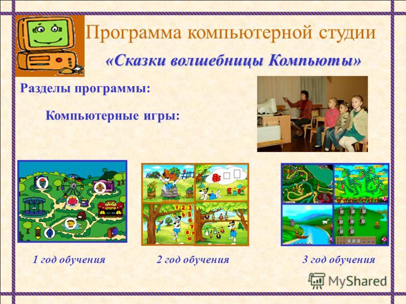 Программа компьютерной студии «Сказки волшебницы Компьюты» Разделы программы: Компьютерные игры: 1 год обучения2 год обучения3 год обучения