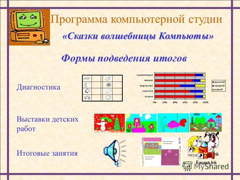 Программа компьютерной студии «Сказки волшебницы Компьюты» Формы подведения итогов Диагностика Выставки детских работ Итоговые занятия