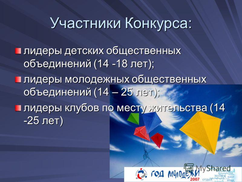 Участники Конкурса: лидеры детских общественных объединений (14 -18 лет); лидеры молодежных общественных объединений (14 – 25 лет); лидеры клубов по месту жительства (14 -25 лет)