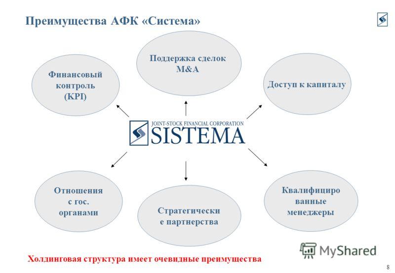 8 Преимущества АФК «Система» Доступ к капиталу Поддержка сделок M&A Холдинговая структура имеет очевидные преимущества Квалифициро ванные менеджеры Отношения с гос. органами Финансовый контроль (KPI) Стратегически е партнерства