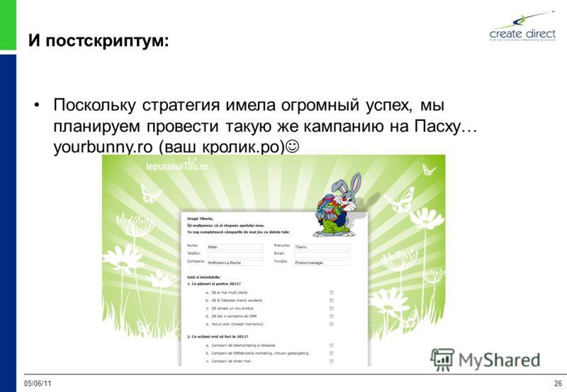 05/06/1126 И постскриптум: Поскольку стратегия имела огромный успех, мы планируем провести такую же кампанию на Пасху… yourbunny.ro (ваш кролик.ро)