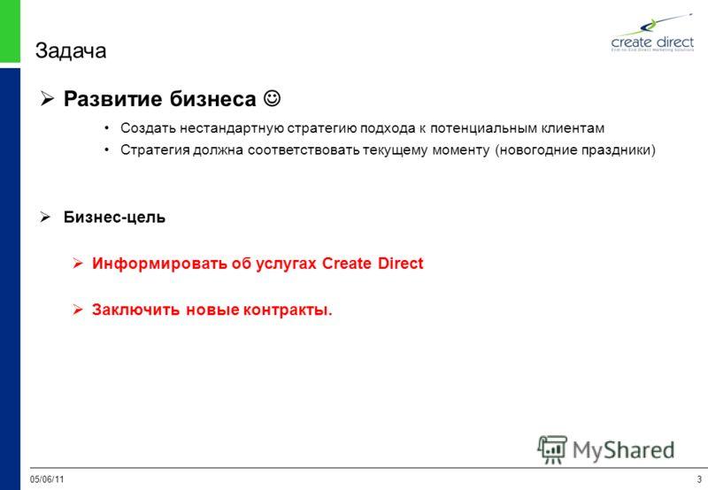 05/06/113 Задача Развитие бизнеса Создать нестандартную стратегию подхода к потенциальным клиентам Стратегия должна соответствовать текущему моменту (новогодние праздники) Бизнес-цель Информировать об услугах Create Direct Заключить новые контракты.