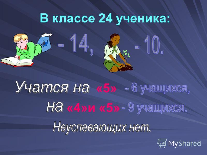 В классе 24 ученика: «5» «4»и «5»