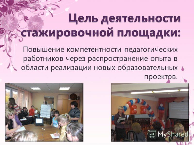 Повышение компетентности педагогических работников через распространение опыта в области реализации новых образовательных проектов.