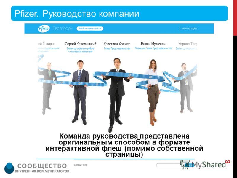 Команда руководства представлена оригинальным способом в формате интерактивной флеш (помимо собственной страницы) Pfizer. Руководство компании 8