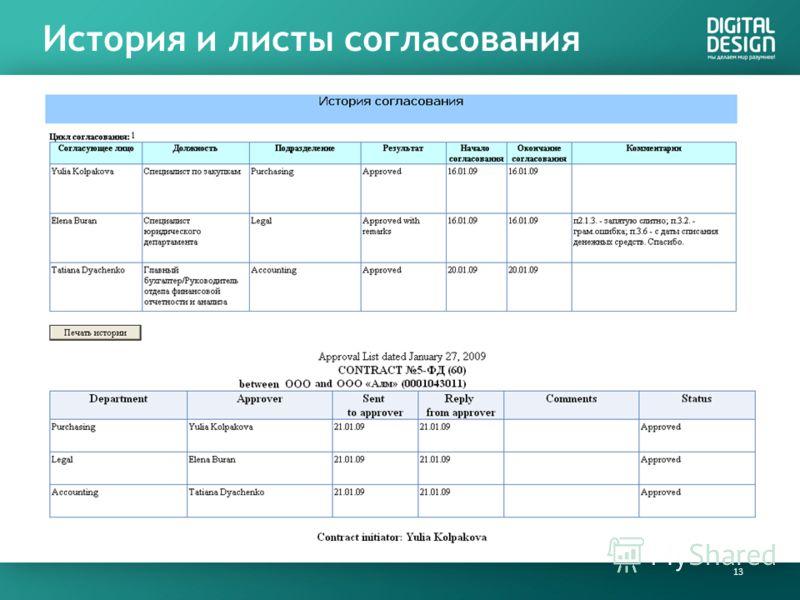 История и листы согласования 13