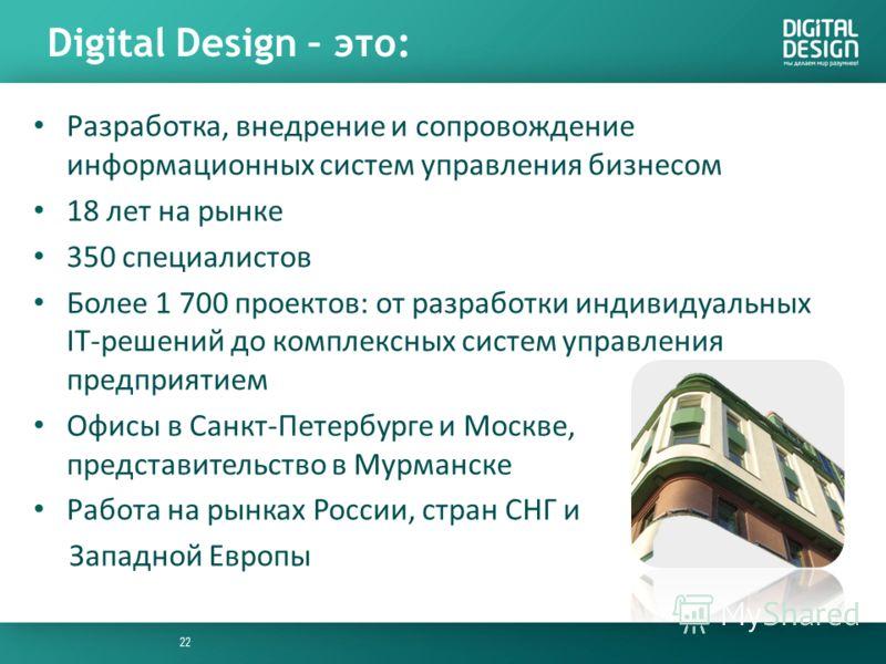 Digital Design – это: Разработка, внедрение и сопровождение информационных систем управления бизнесом 18 лет на рынке 350 специалистов Более 1 700 проектов: от разработки индивидуальных IT-решений до комплексных систем управления предприятием Офисы в