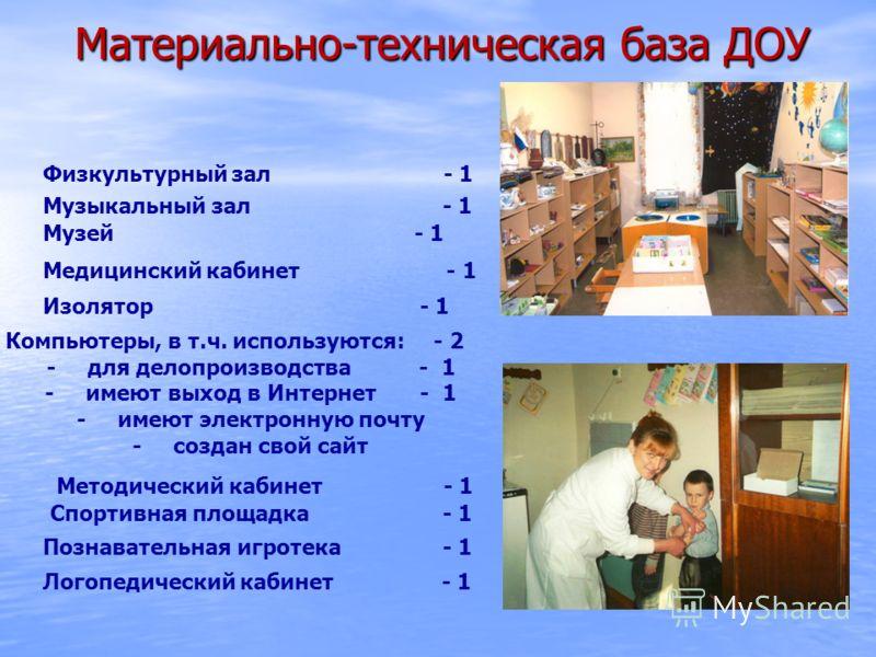 Материально-техническая база ДОУ Материально-техническая база ДОУ Музыкальный зал - 1 Физкультурный зал - 1 Музей - 1 Медицинский кабинет - 1 Изолятор - 1 Компьютеры, в т.ч. используются: - 2 - для делопроизводства - 1 - имеют выход в Интернет - 1 -