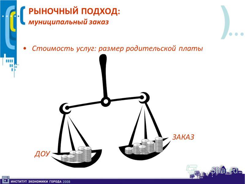 ) РЫНОЧНЫЙ ПОДХОД: муниципальный заказ Стоимость услуг: размер родительской платы ДОУ ЗАКАЗ