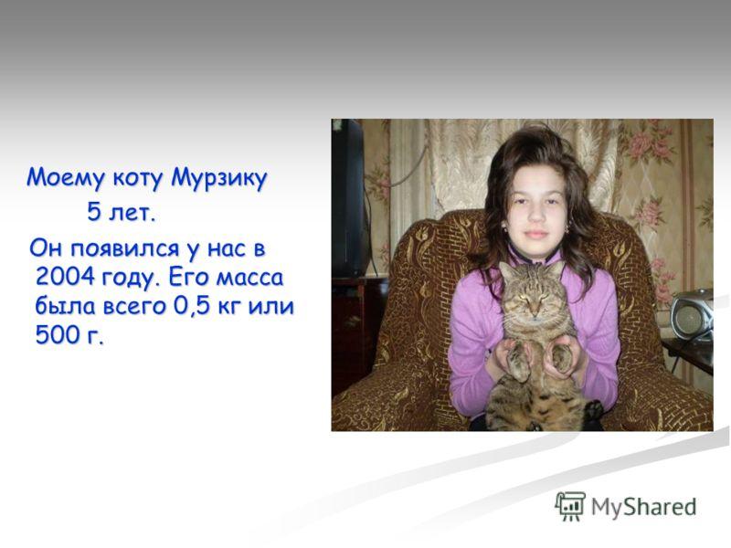 Моему коту Мурзику Моему коту Мурзику 5 лет. 5 лет. Он появился у нас в 2004 году. Его масса была всего 0,5 кг или 500 г. Он появился у нас в 2004 году. Его масса была всего 0,5 кг или 500 г.