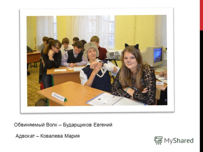 Обвиняемый Волк – Бударщиков Евгений Адвокат – Ковалева Мария