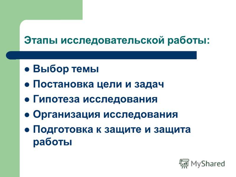 Этапы исследовательской работы: Выбор темы Постановка цели и задач Гипотеза исследования Организация исследования Подготовка к защите и защита работы