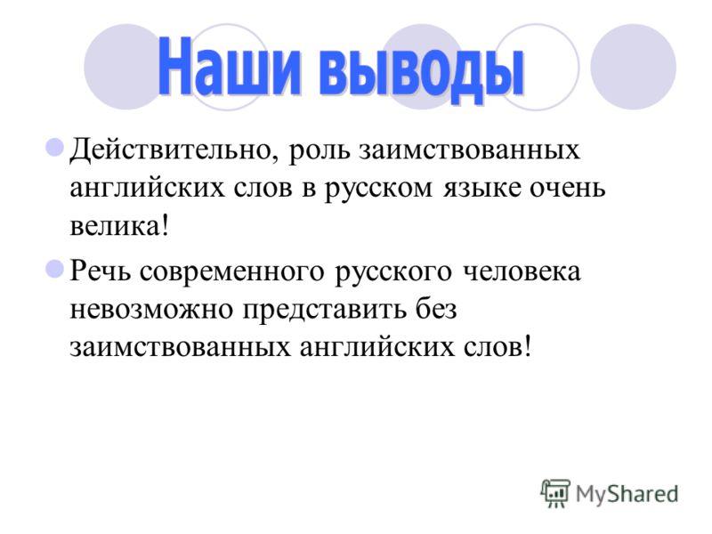 Действительно, роль заимствованных английских слов в русском языке очень велика! Речь современного русского человека невозможно представить без заимствованных английских слов!