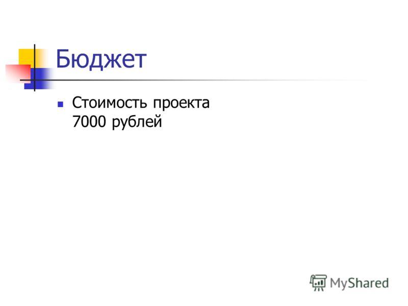 Бюджет Стоимость проекта 7000 рублей