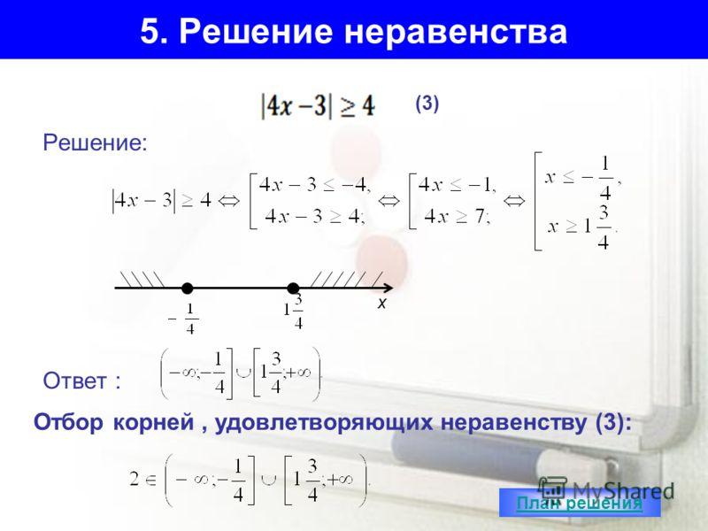 5. Решение неравенства Решение: Ответ : (3) х Отбор корней, удовлетворяющих неравенству (3): План решения