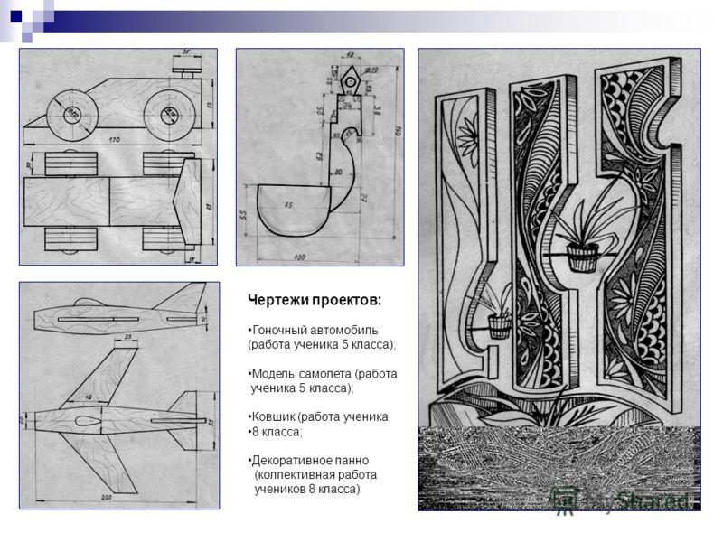 Чертежи проектов: Гоночный автомобиль (работа ученика 5 класса); Модель самолета (работа ученика 5 класса); Ковшик (работа ученика 8 класса; Декоративное панно (коллективная работа учеников 8 класса)