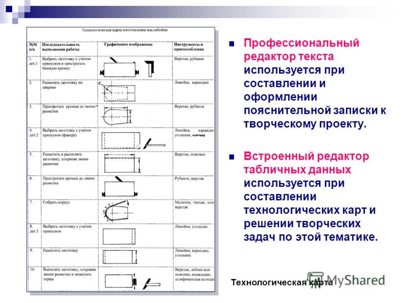 Профессиональный редактор текста используется при составлении и оформлении пояснительной записки к творческому проекту. Встроенный редактор табличных данных используется при составлении технологических карт и решении творческих задач по этой тематике