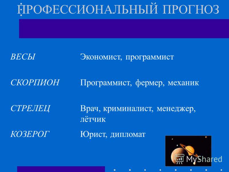 ПРОФЕССИОНАЛЬНЫЙ ПРОГНОЗ ВЕСЫЭкономист, программист СКОРПИОНПрограммист, фермер, механик СТРЕЛЕЦВрач, криминалист, менеджер, лётчик КОЗЕРОГЮрист, дипломат