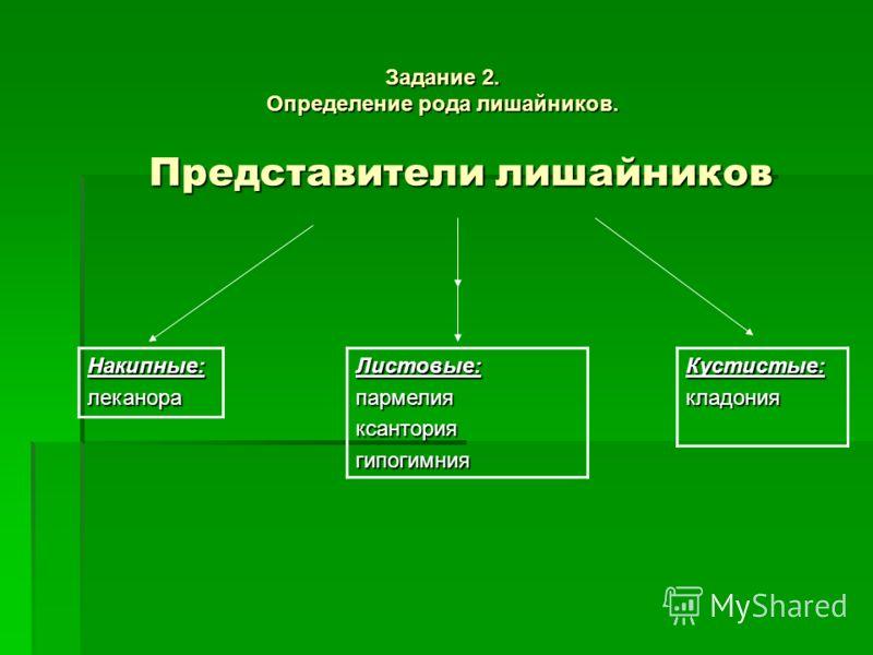 Представители лишайников Накипные:леканораКустистые:кладонияЛистовые:пармелияксанториягипогимния Задание 2. Определение рода лишайников.