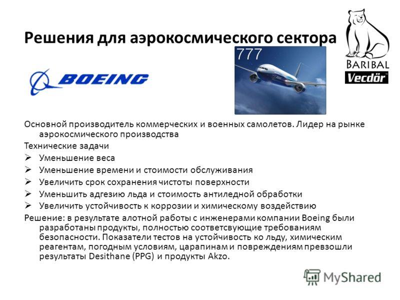 Решения для аэрокосмического сектора Основной производитель коммерческих и военных самолетов. Лидер на рынке аэрокосмического производства Технические задачи Уменьшение веса Уменьшение времени и стоимости обслуживания Увеличить срок сохранения чистот