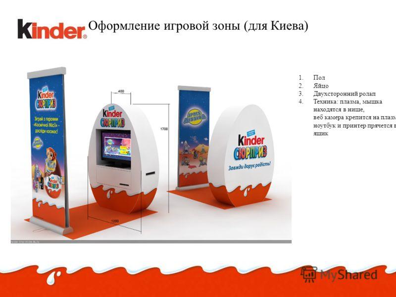Оформление игровой зоны (для Киева) 1.Пол 2.Яйцо 3.Двухсторонний ролап 4.Техника: плазма, мышка находятся в нише, веб камера крепится на плазму, ноутбук и принтер прячется в ящик