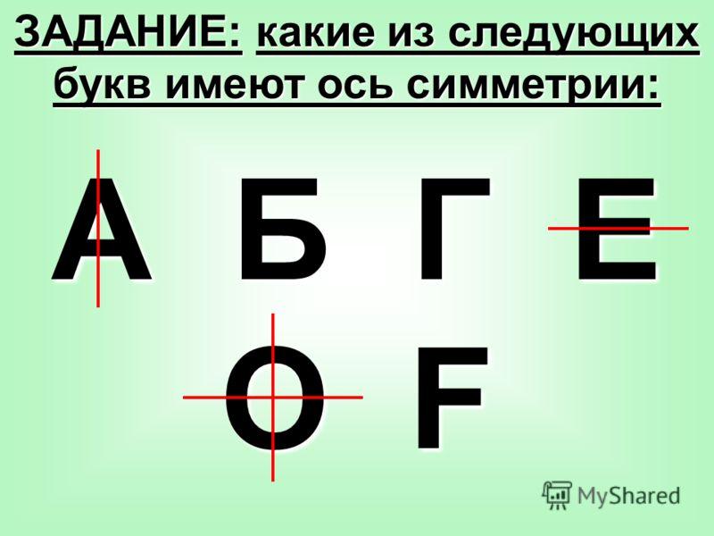 А Б Г Е О F ЗАДАНИЕ: какие из следующих букв имеют ось симметрии: