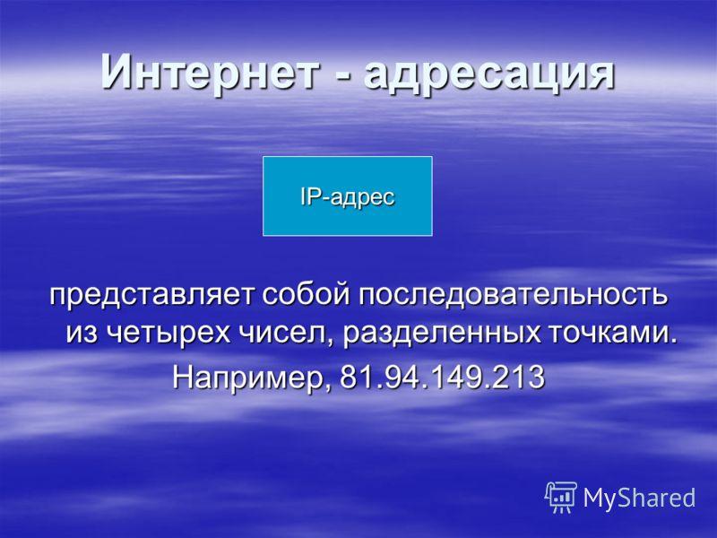 Интернет - адресация представляет собой последовательность из четырех чисел, разделенных точками. Например, 81.94.149.213 IP-адрес