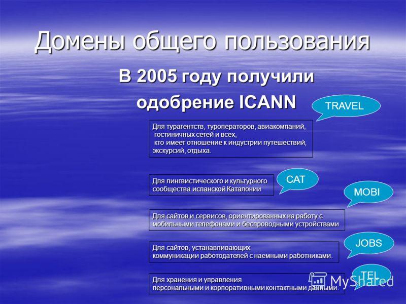 Домены общего пользования В 2005 году получили одобрение ICANN TRAVEL Для турагентств, туроператоров, авиакомпаний, гостиничных сетей и всех, гостиничных сетей и всех, кто имеет отношение к индустрии путешествий, кто имеет отношение к индустрии путеш