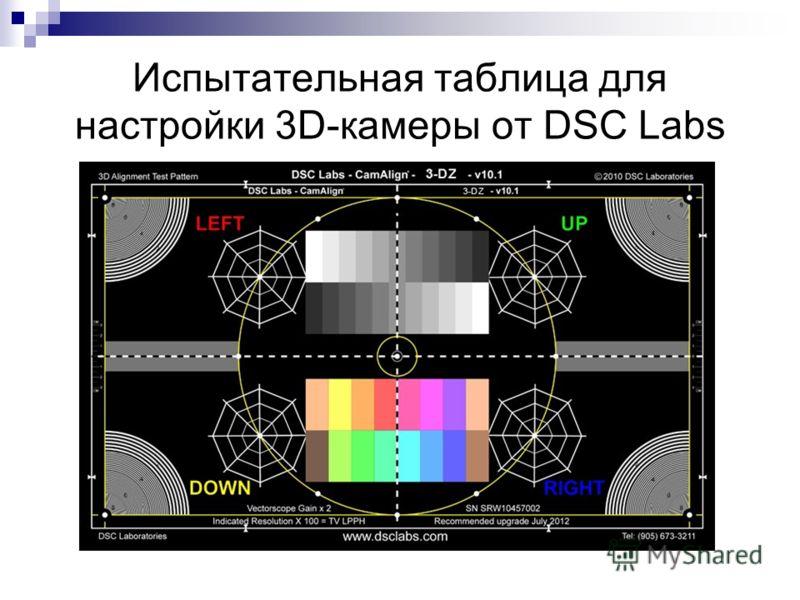 Испытательная таблица для настройки 3D-камеры от DSC Labs