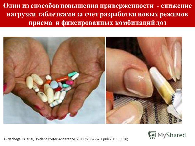 Один из способов повышения приверженности - снижение нагрузки таблетками за счет разработки новых режимов приема и фиксированных комбинаций доз 1- Nachega JB et al, Patient Prefer Adherence. 2011;5:357-67. Epub 2011 Jul 18;