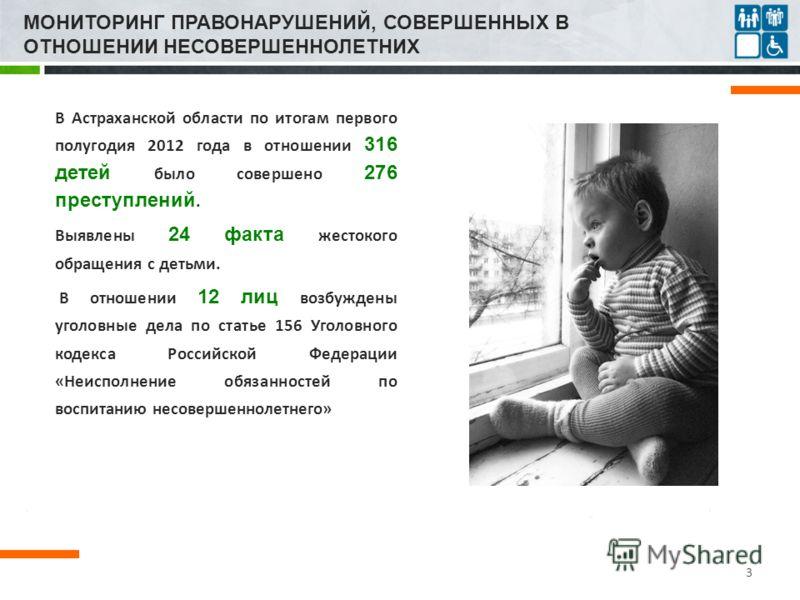 МОНИТОРИНГ ПРАВОНАРУШЕНИЙ, СОВЕРШЕННЫХ В ОТНОШЕНИИ НЕСОВЕРШЕННОЛЕТНИХ В Астраханской области по итогам первого полугодия 2012 года в отношении 316 детей было совершено 276 преступлений. Выявлены 24 факта жестокого обращения с детьми. В отношении 12 л