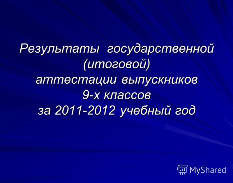 Результаты государственной (итоговой) аттестации выпускников 9-х классов за 2011-2012 учебный год
