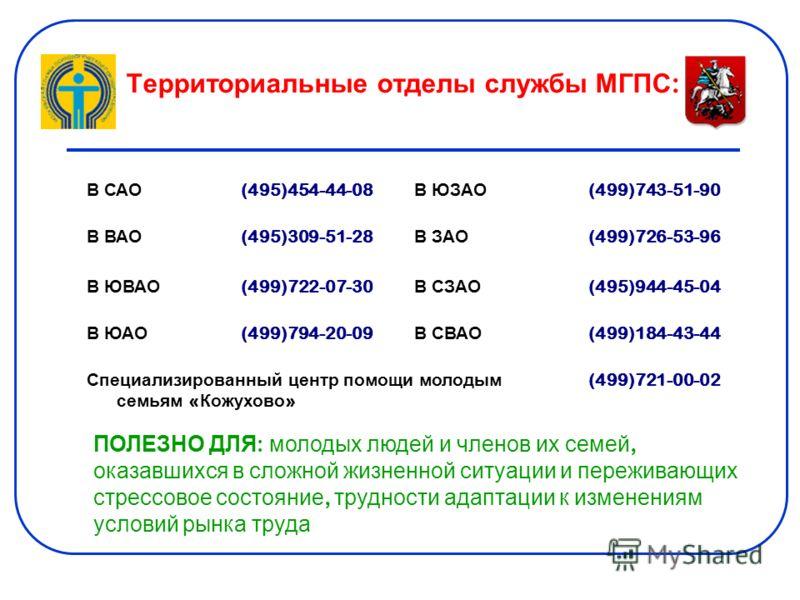 Территориальные отделы службы МГПС : В САО (495)454-44-08 В ЮЗАО (499)743-51-90 В ВАО (495)309-51-28 В ЗАО (499)726-53-96 В ЮВАО (499)722-07-30 В СЗАО (495)944-45-04 В ЮАО (499)794-20-09 В СВАО (499)184-43-44 Специализированный центр помощи молодым с